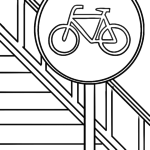 Traffic sign bike path Coloring page