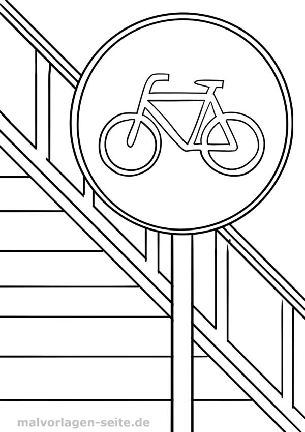 Señal de tráfico en bicicleta camino Página para colorear | Páginas ...