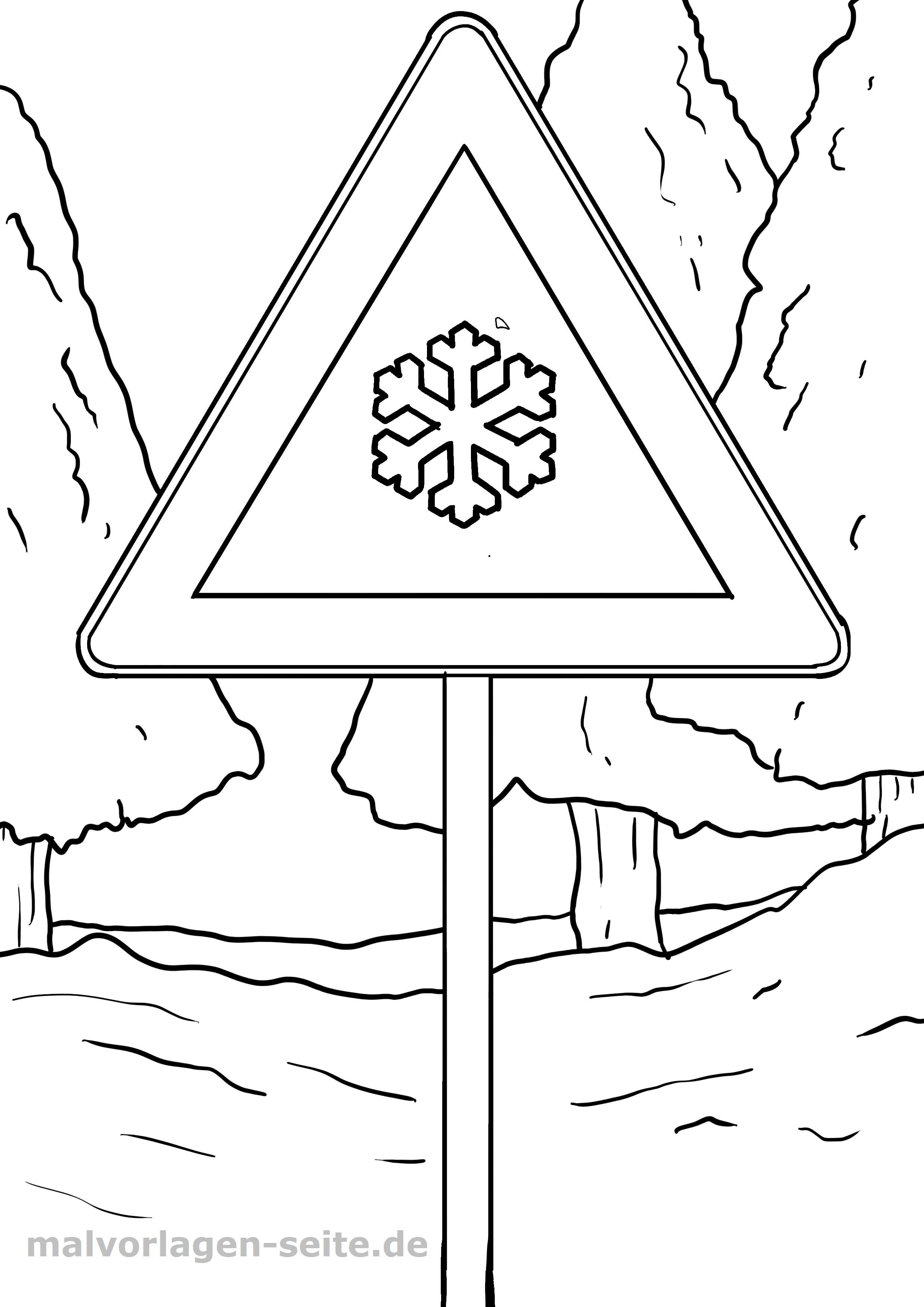 Verkehrszeichen Schnee Glätte Malvorlage - Kostenlose Ausmalbilder