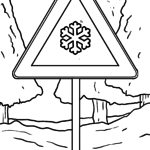 Traffic sign snow smoothness Coloring page