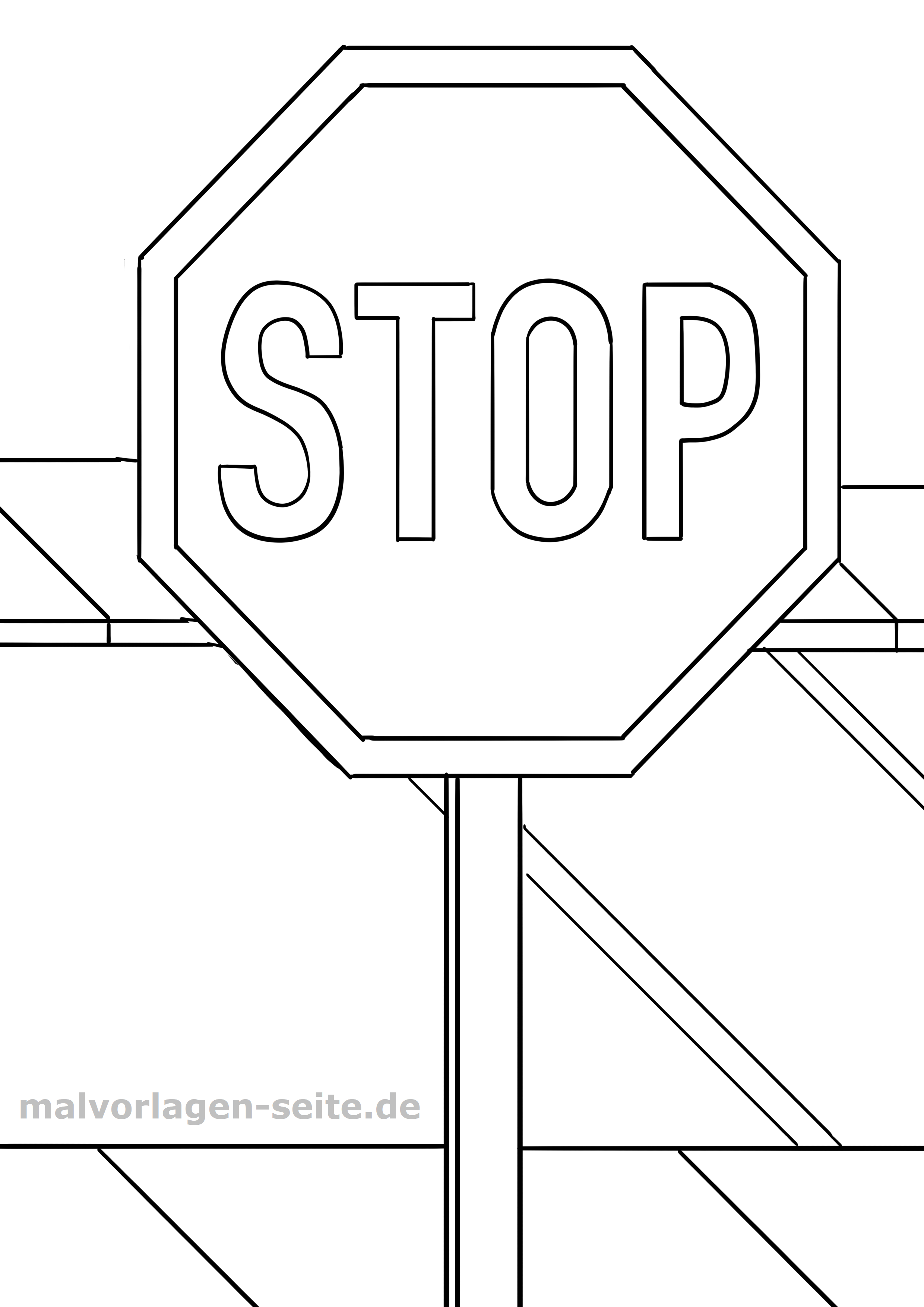 Traffic Sign For Coloring In Kindergarten Or Elementary School