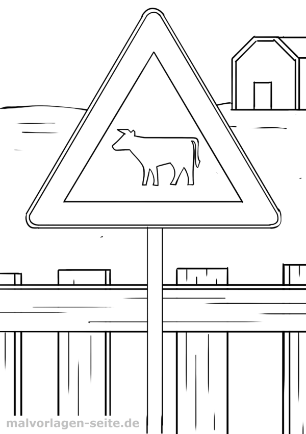 Coloring page traffic sign cattle drive