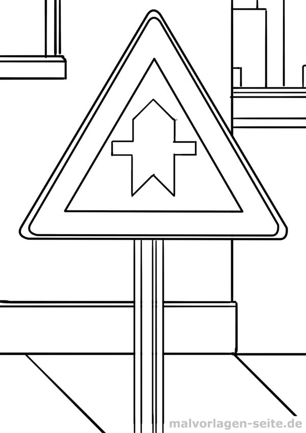 Malvorlage Verkehrszeichen Vorfahrtstraße