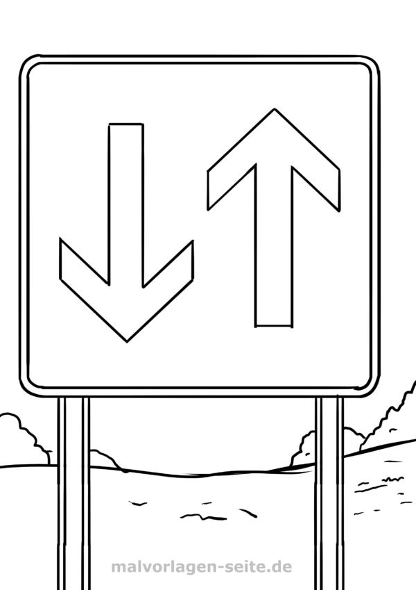 Koloranta paĝan trafikosignon prioritata trafiko