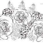 Coloring page adult roses bouquet