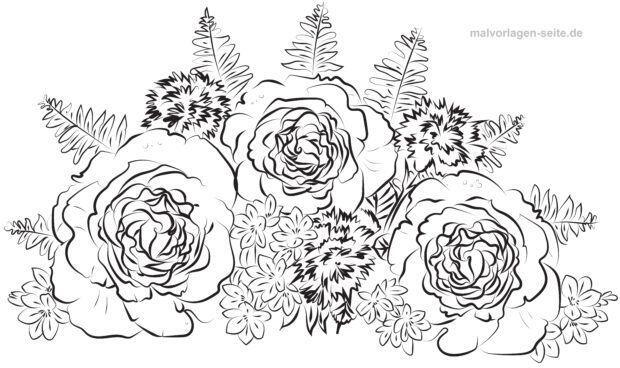 Malvorlage / Ausmalbild Rosen Blumenstrauß für Erwachsene