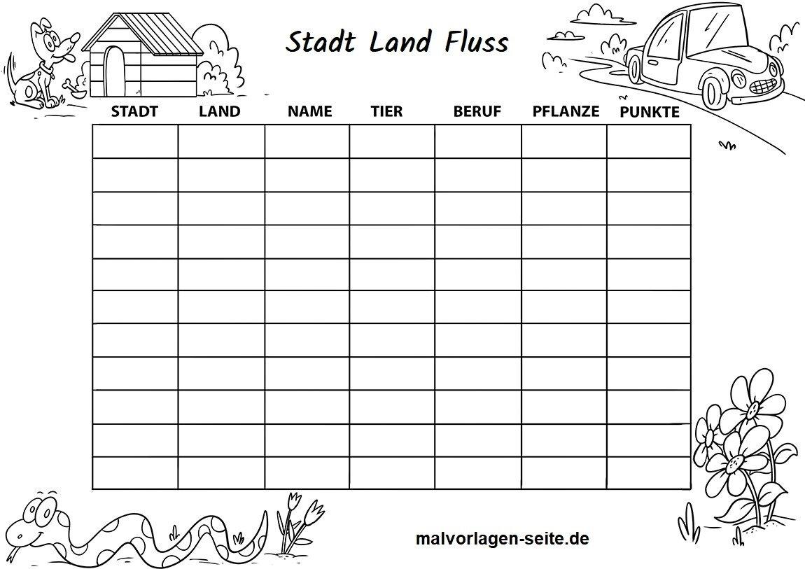 blanko tabellen zum ausdruckenm - stadt land fluss vorlage