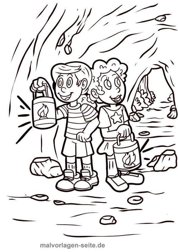 Coloring page kids with lanterns