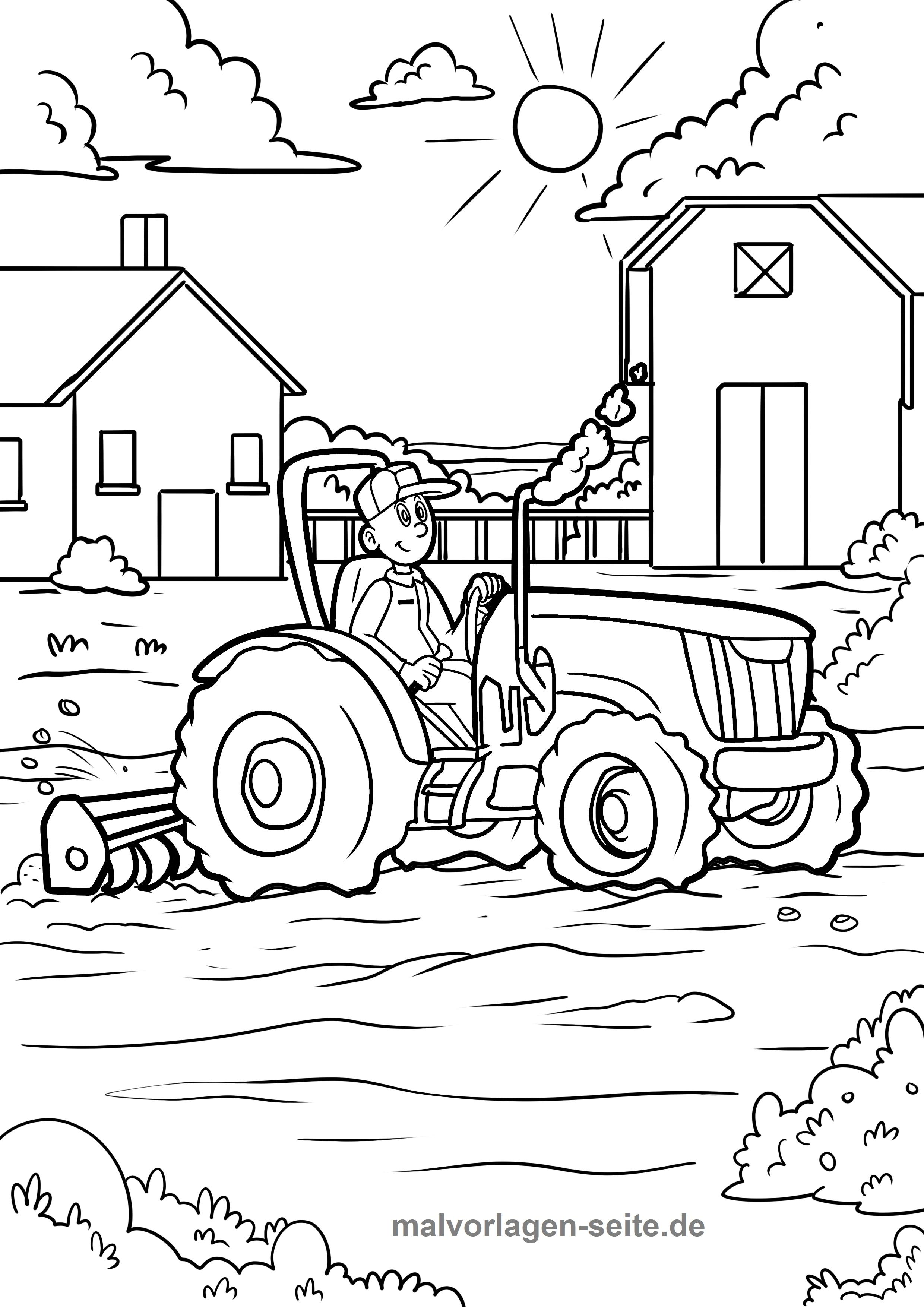 Malvorlage Bauernhof Traktor  Coloring and Malvorlagan