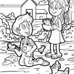 Coloring page farm and children