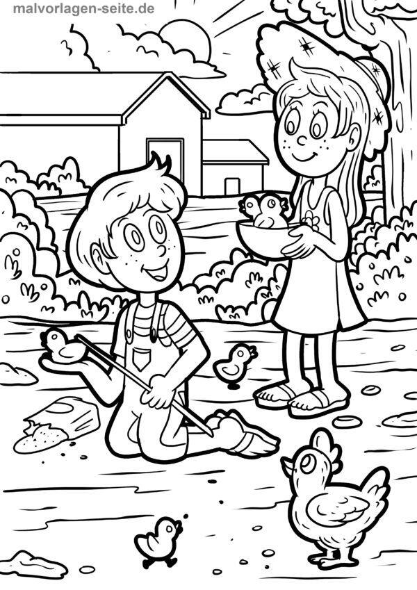 Coloring page children on the farm