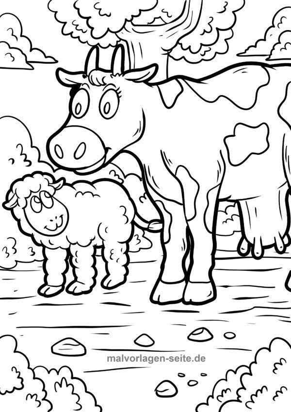 Dibujo para colorear animales de granja | Páginas para colorear ...