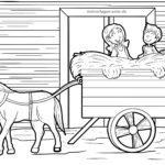 Stranica za bojanje kolica sa sijenom na farmi