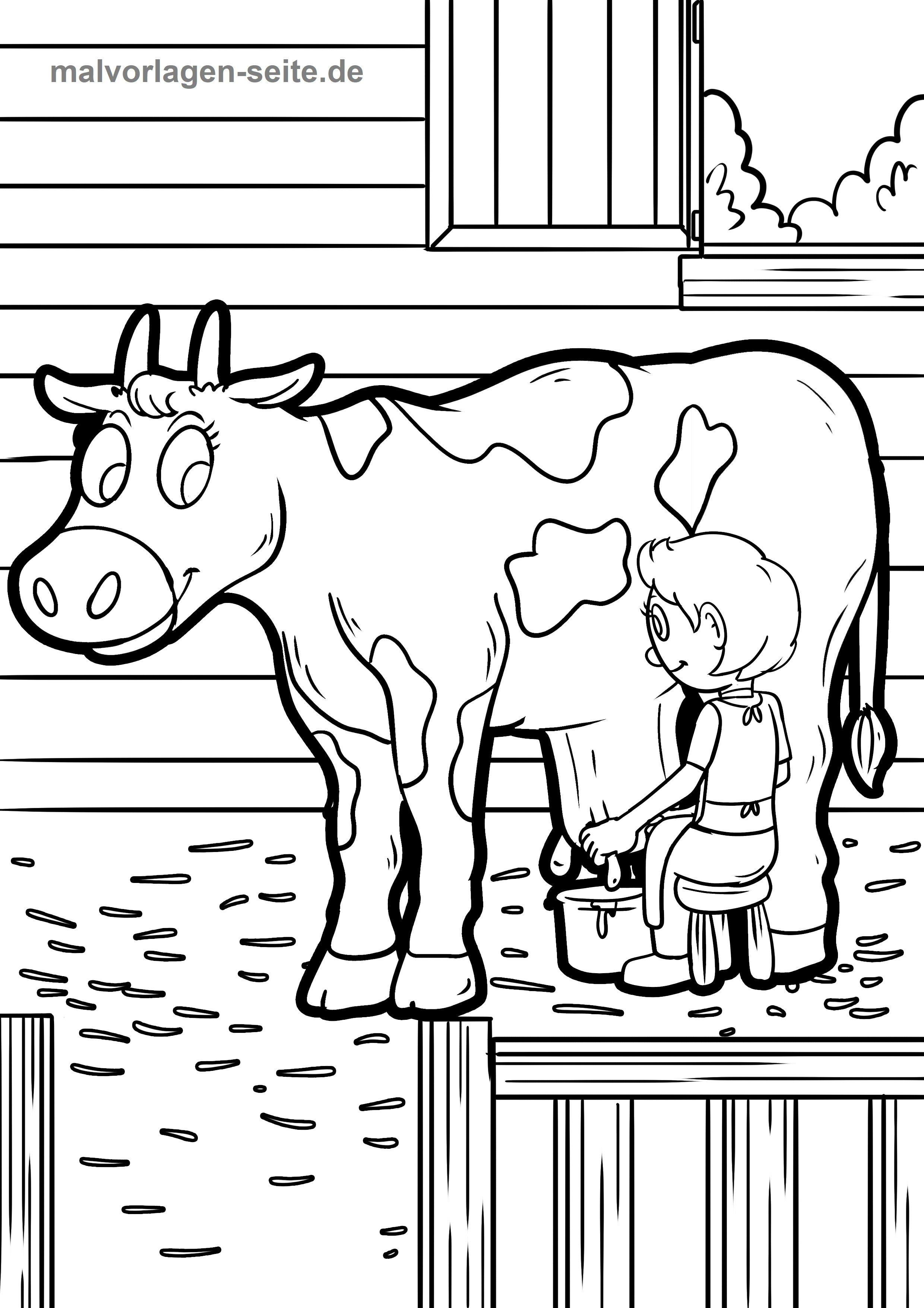 Malvorlage Bauernhof Kuh Melken
