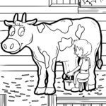 Coloring page farm cow milking