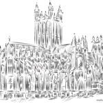 Coloring page for adult cathedral