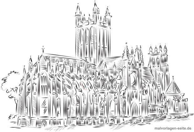 Malvorlage Kathedrale für Erwachsene
