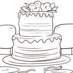 Coloring page wedding cake | wedding