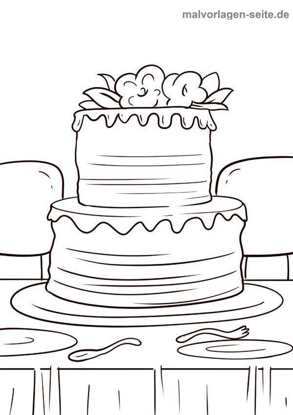 Malvorlage Hochzeitstorte