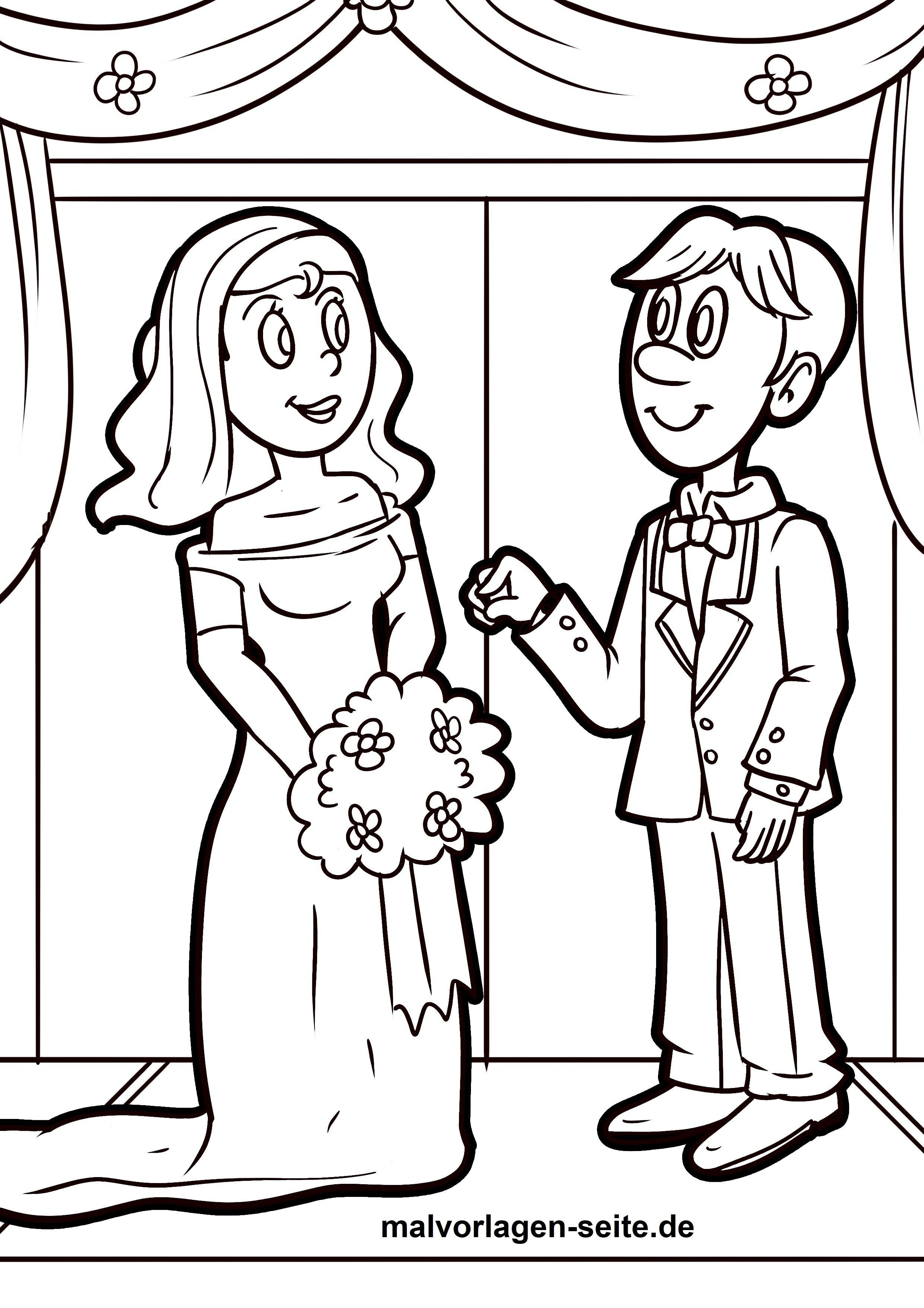 Malvorlage Hochzeitspaar Hochzeit