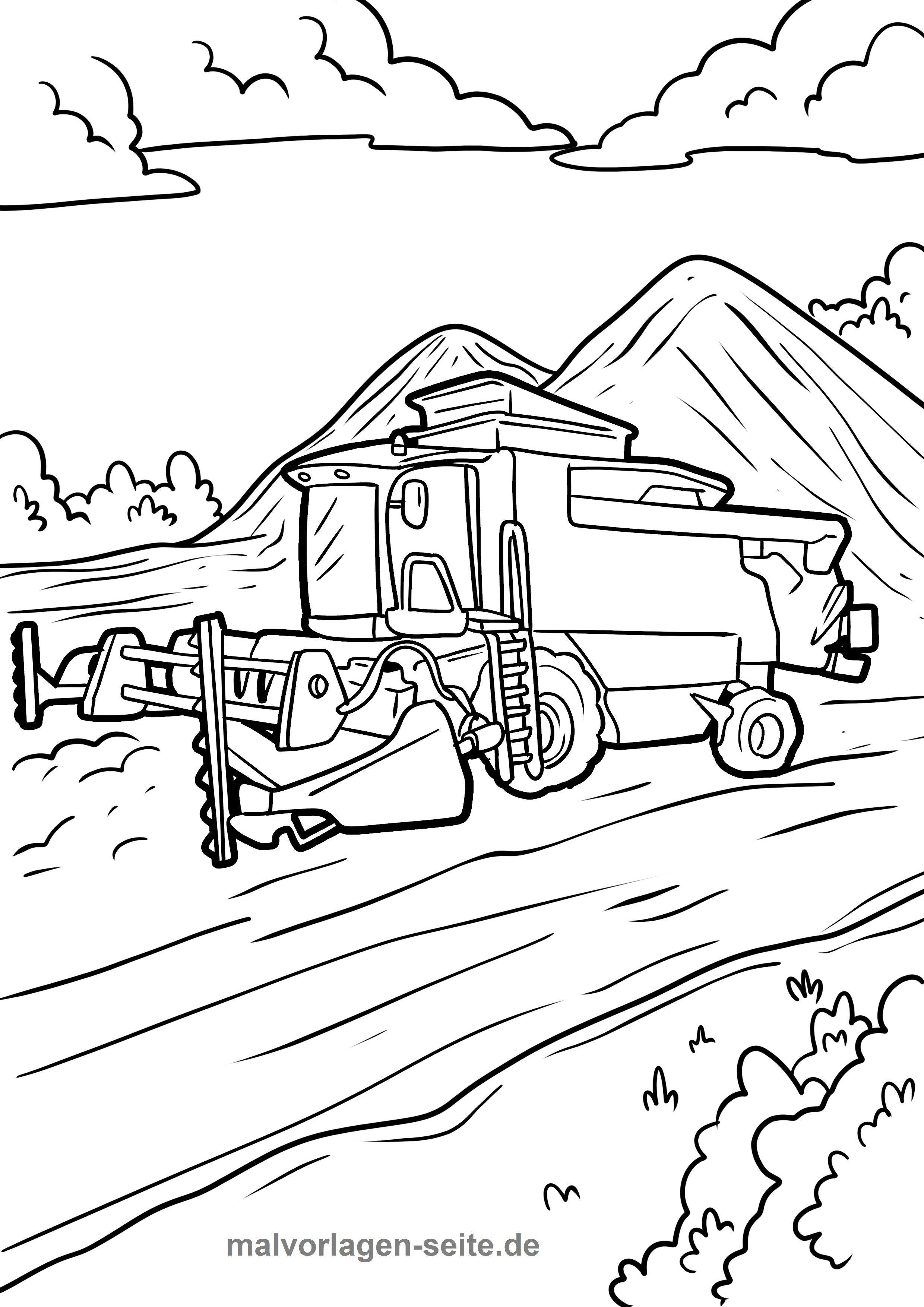 Malvorlage Mahdrescher Fahrzeuge Bauernhof