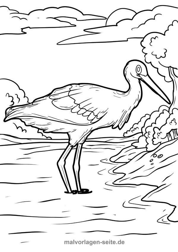 Coloring page stork