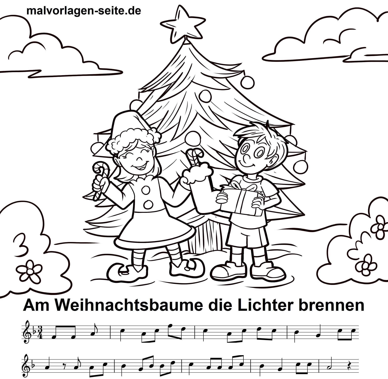 Am Weihnachtsbaume die Lichter brennen - Noten und Text