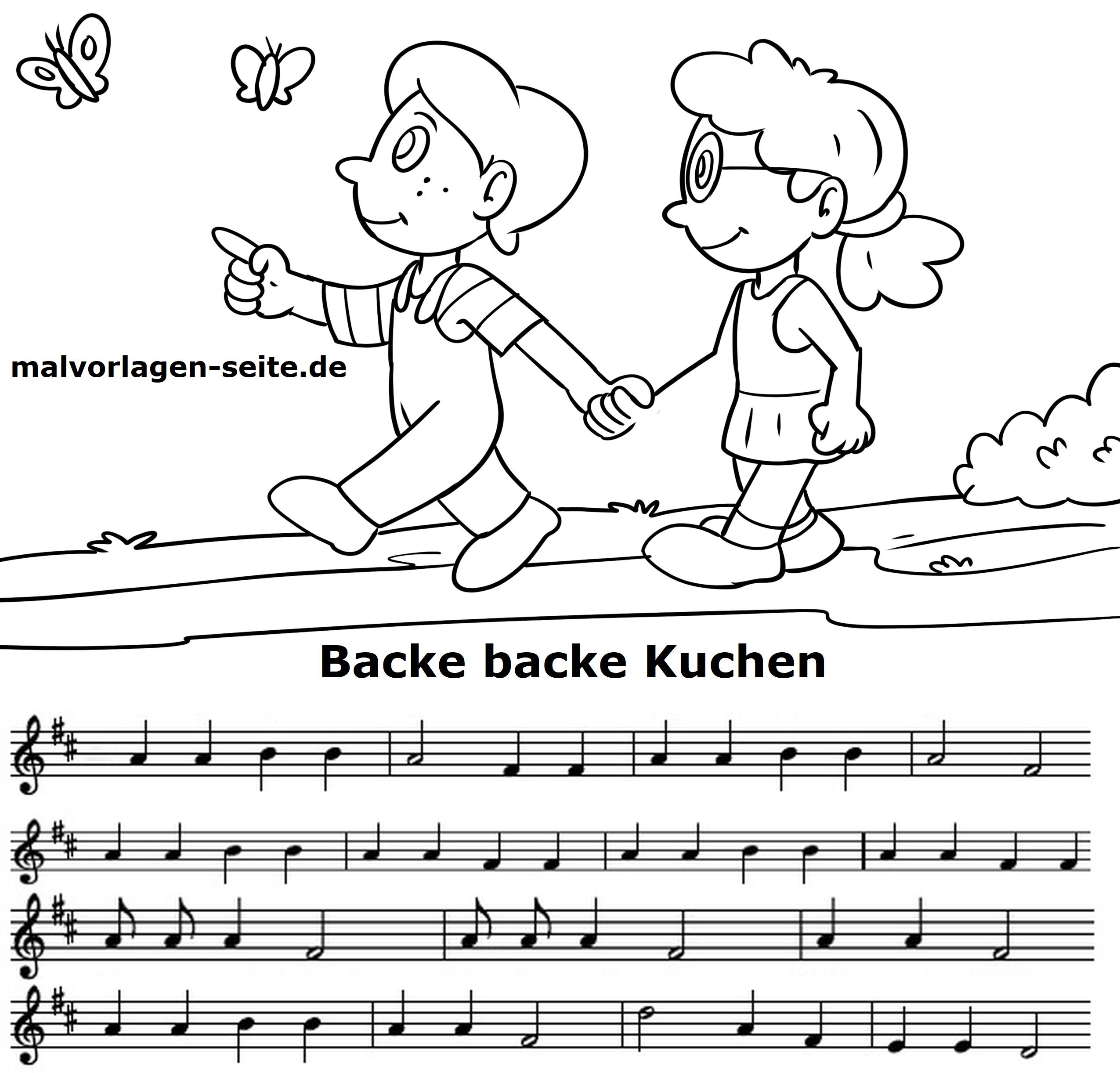 Backe Backe Kuchen Noten Und Text Gratis Malvorlagen Zum Download