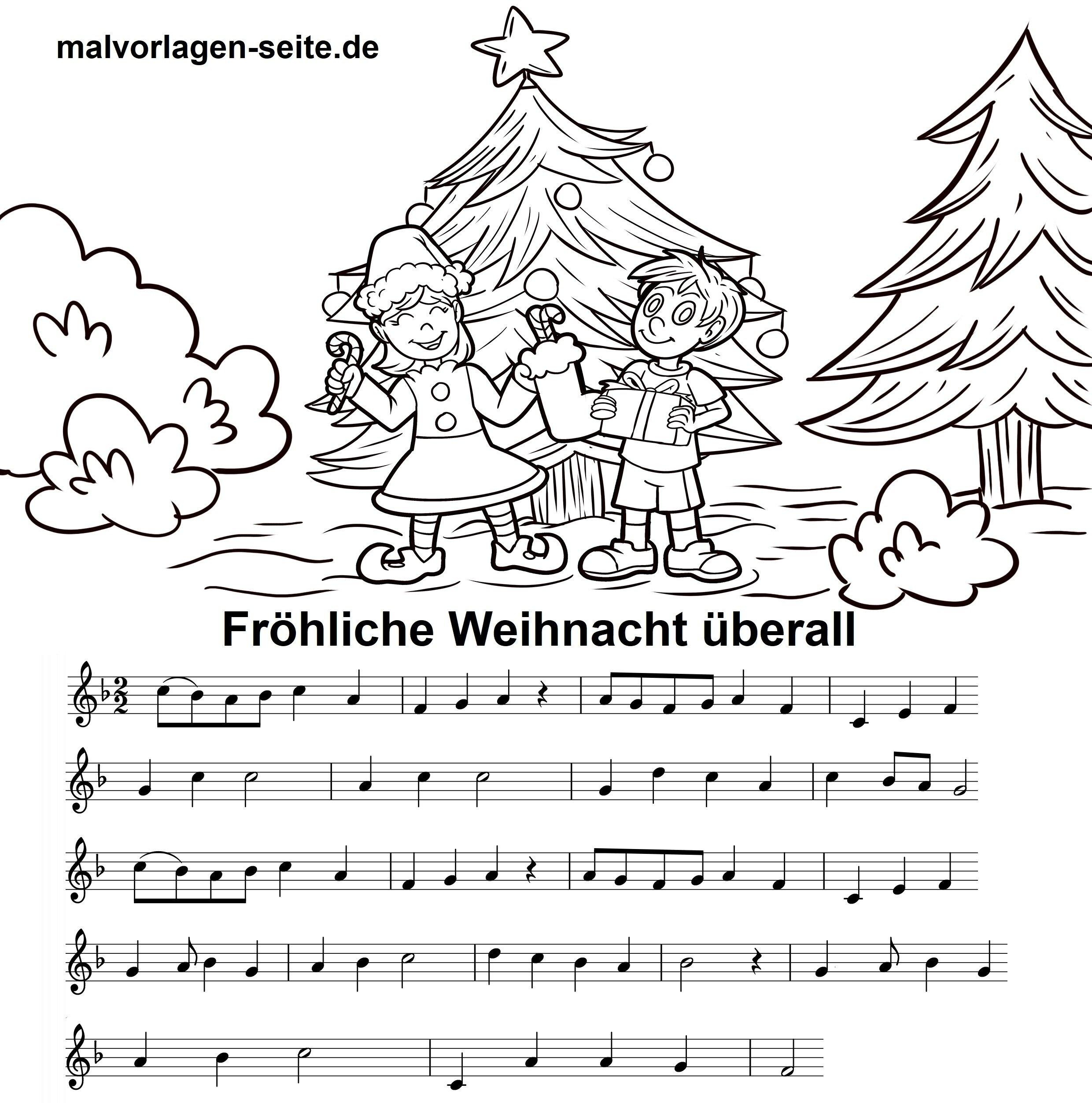 Fröhliche Weihnacht überall - Noten und Text zum Ausdrucken