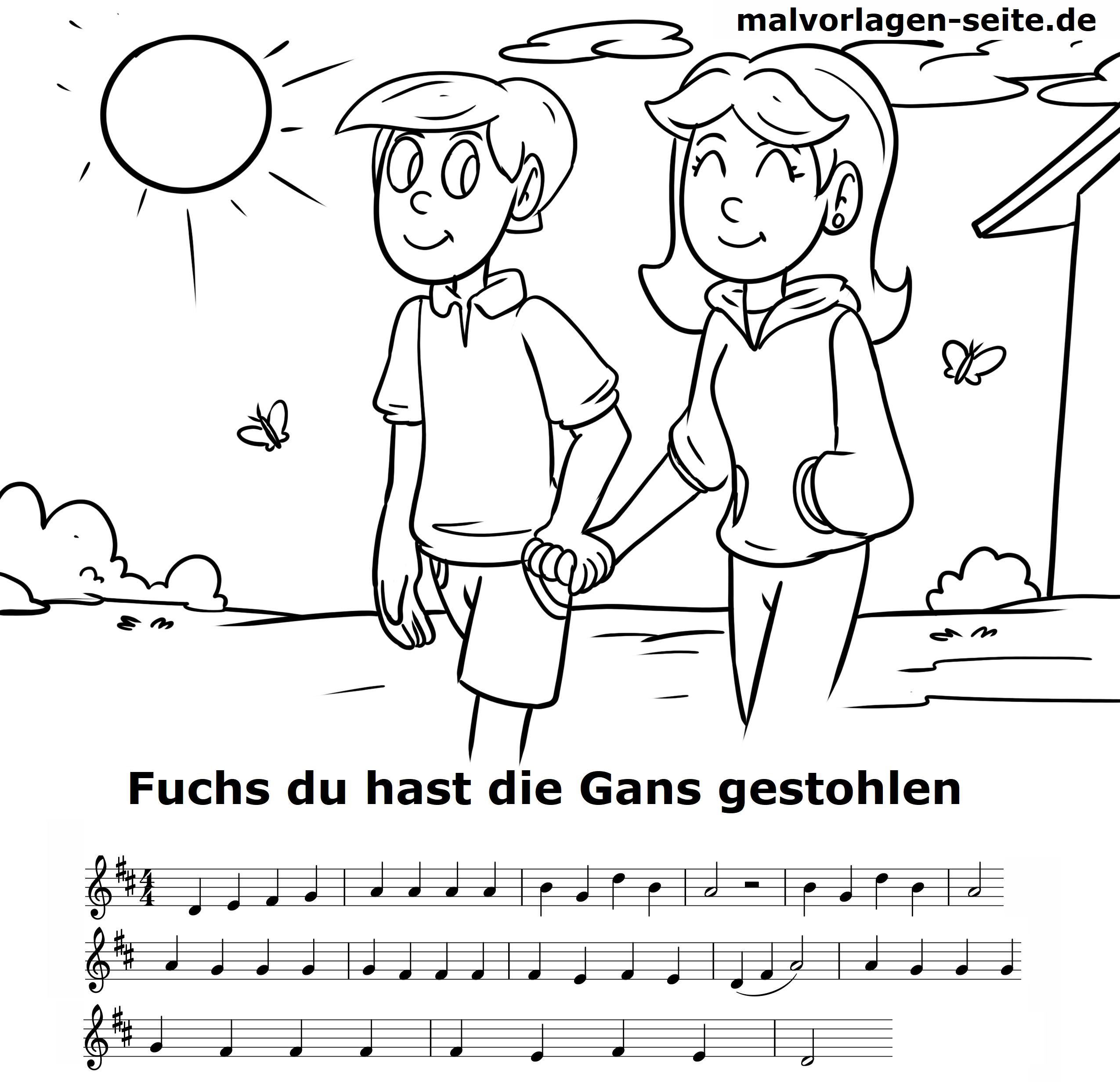 Fuchs Du Hast Die Gans Gestohlen Noten Und Text Zum Ausdrucken