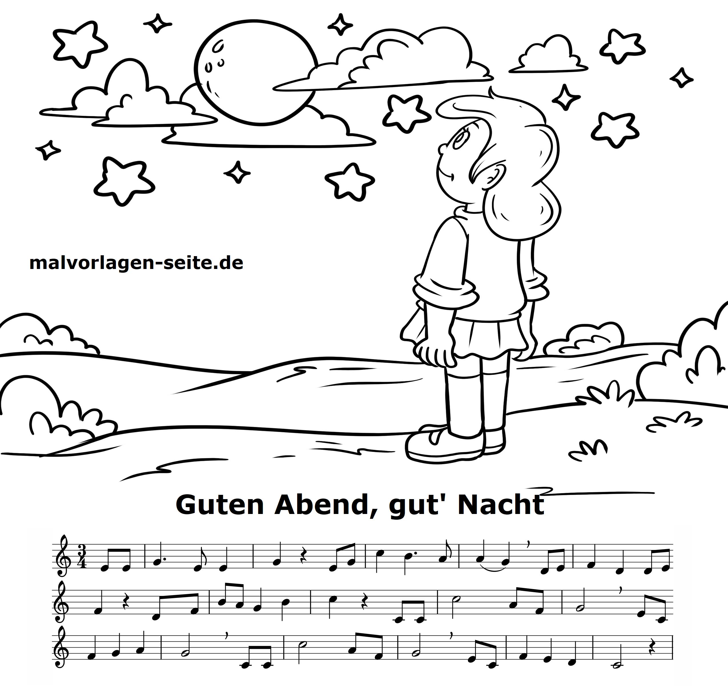 Guten Abend Gut Nacht Noten Und Text Vom Kinderlied Zum