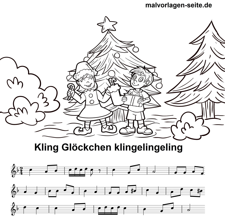 Weihnachtslieder Ausdrucken.Noten Und Text Kling Glöckchen Klingelingeling Zum Ausdrucken