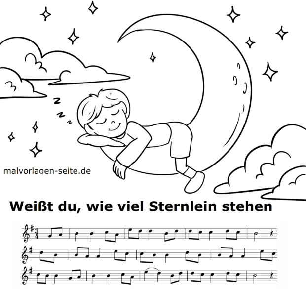 Sheet music and text Do you know how many stars are standing?