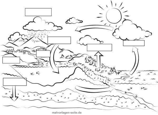 Water cycle template blank for self-labeling