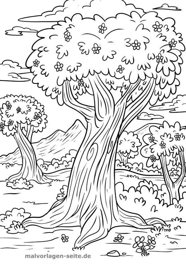 Halaman Mewarnai Pohon Di Musim Semi Halaman Mewarnai Gratis Untuk