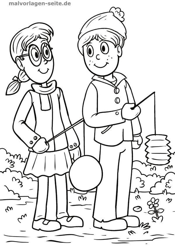 Coloring page Saint Martin children with lanterns