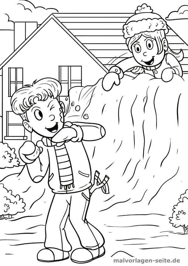 Coloring page snowball fight