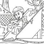 Coloring page swimming pool slide