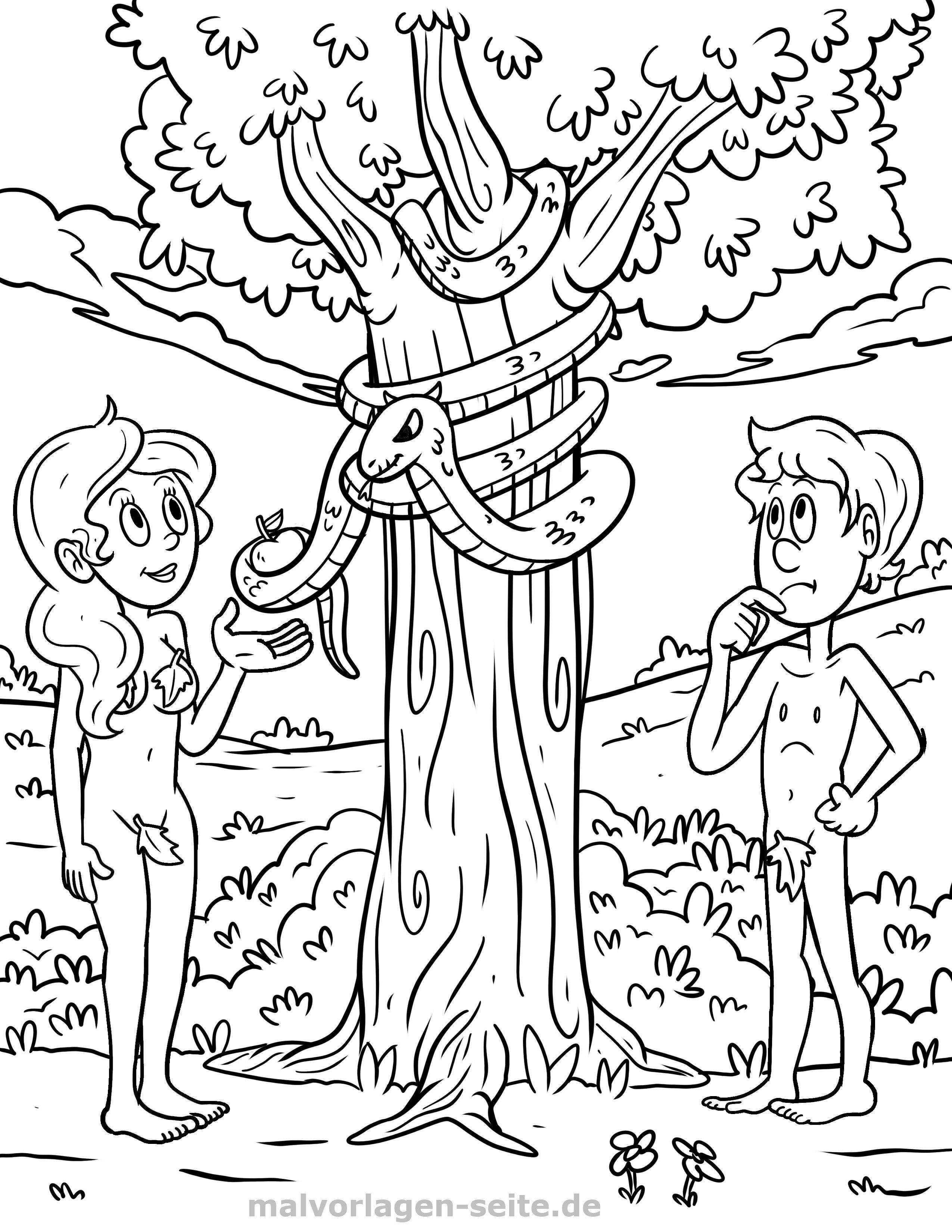 Malvorlage Religion - Adam und Eva | Gratis Malvorlagen zum Download
