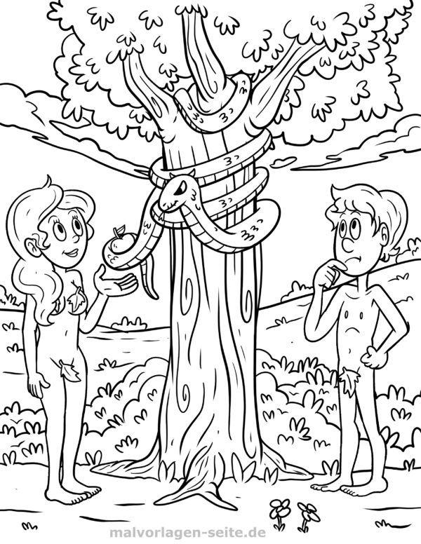 Coloring page Adam and Eve