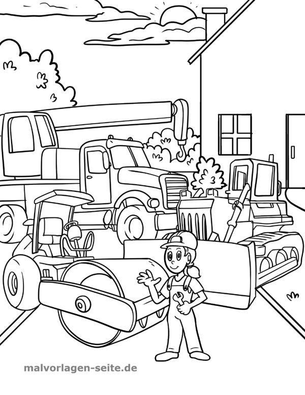 Coloring page construction site - construction vehicles