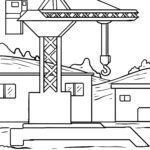 Coloring page construction site