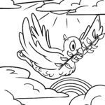 Coloring page religion - pigeon with olive branch