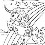 Coloring page unicorn with rainbow