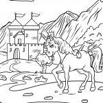Coloring page unicorn in front of the castle