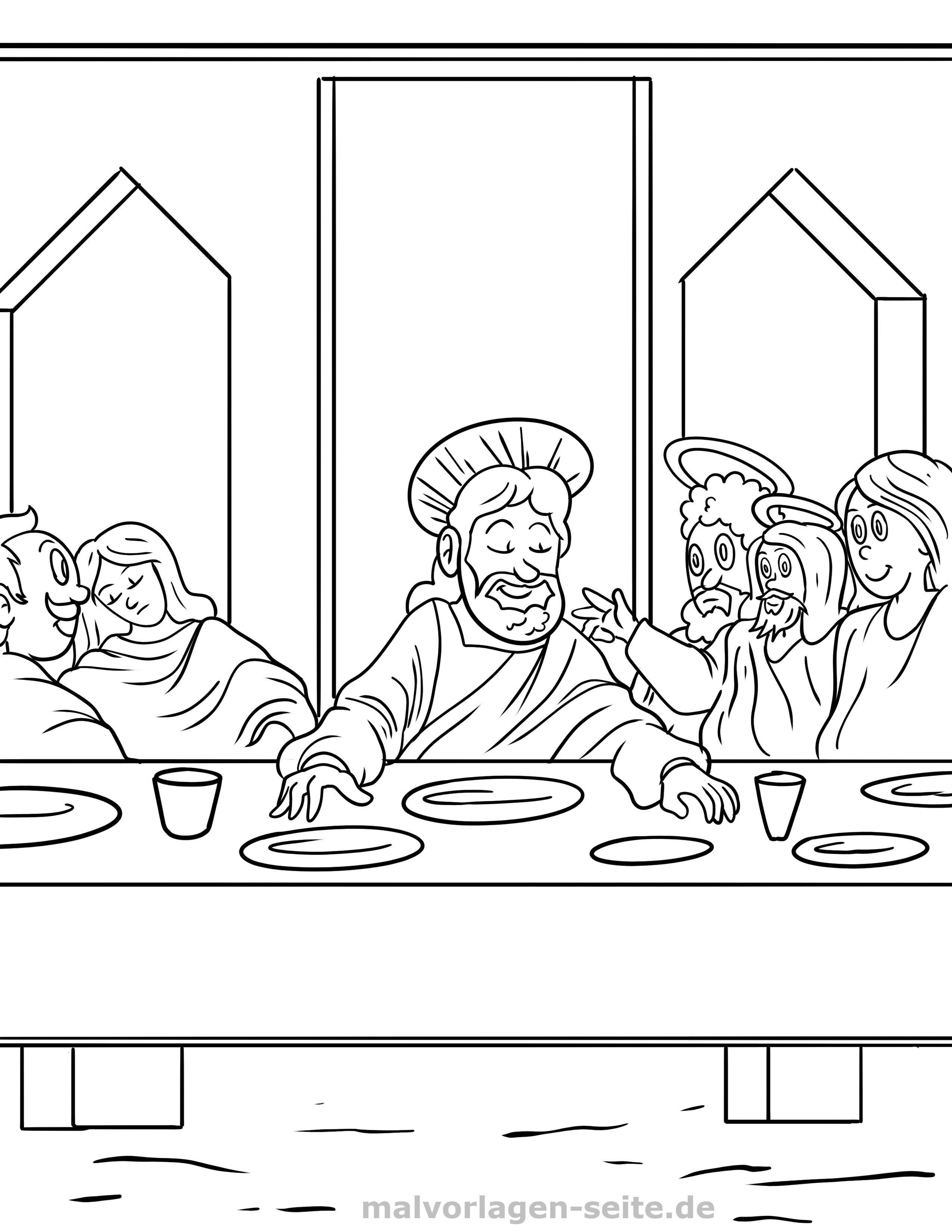 Malvorlage Religion - Abendmahl | Gratis Malvorlagen zum Download