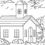 Coloring page religion - church and cross