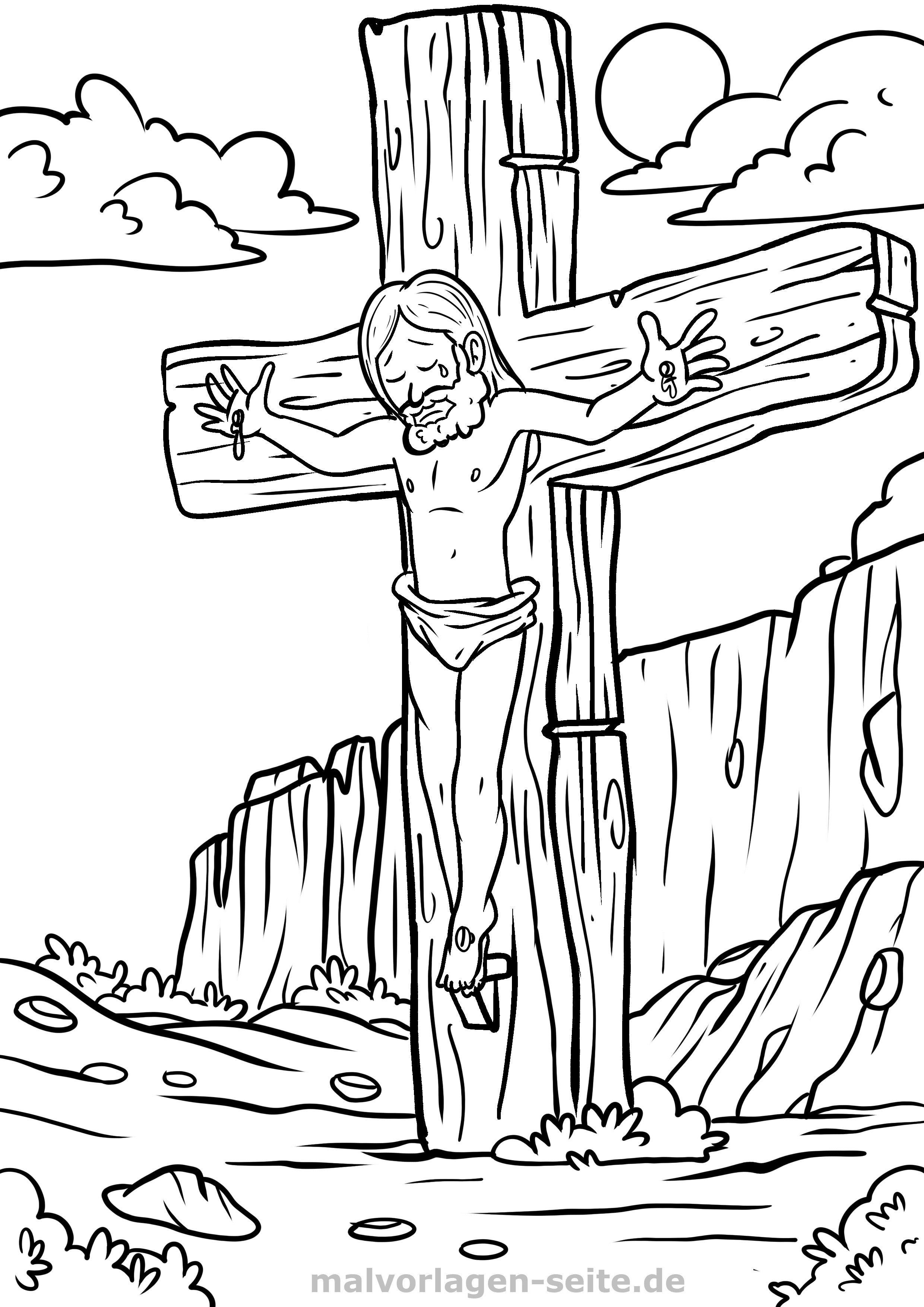 Malvorlage Religion - Kreuzigung Jesus | Gratis Malvorlagen zum Download
