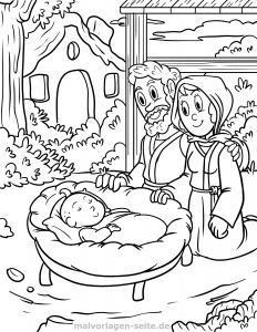 Farvelægning Maria Josef baby Jesus i krybben