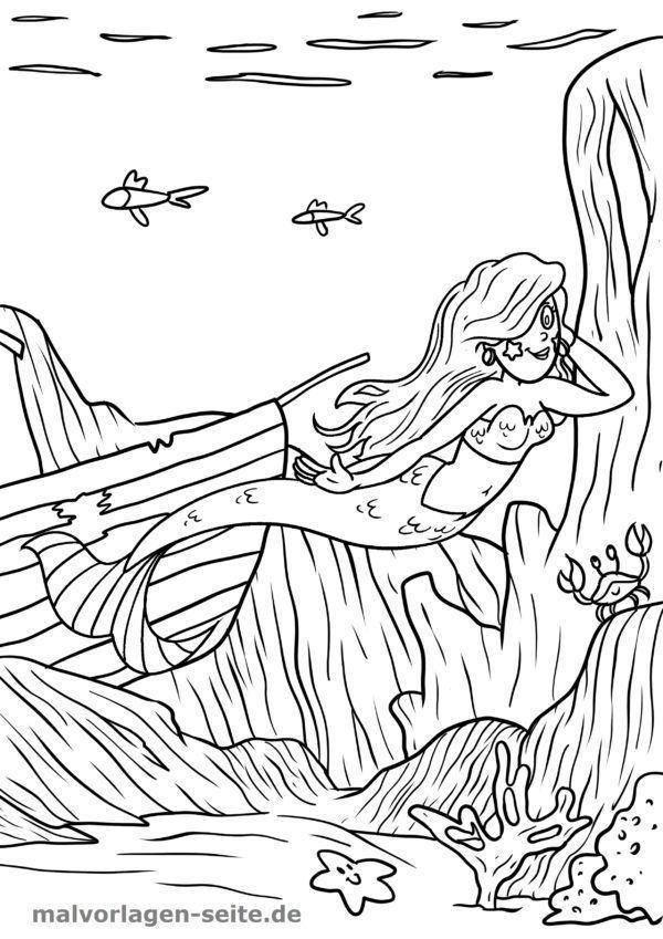 Malvorlage / Ausmalbild Meerjungfrau